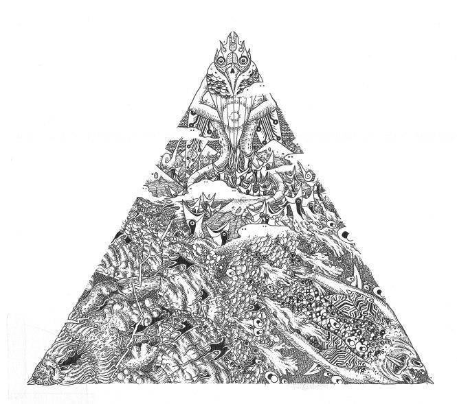 la tierra, el mar y el aire en un triangulo.