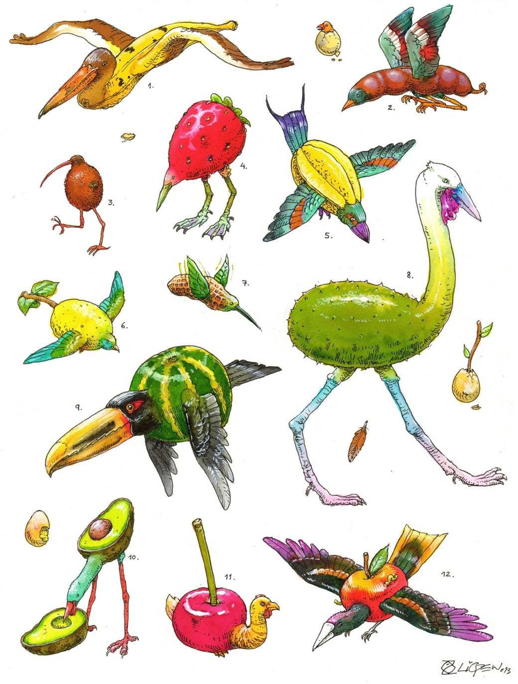 fruit birds colorfullB